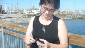 Crocheting on the docks of Port Townsend WA
