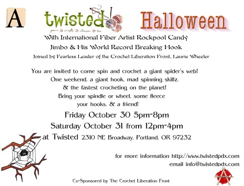 Twistedpdx, Crochet, Handspinning, Giant Web, Halloween Party