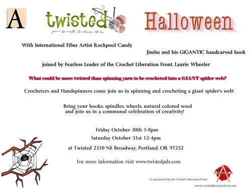 Portland Oregon, Halloween, Crochet, Hand Spinning, Fiber Arts, Party
